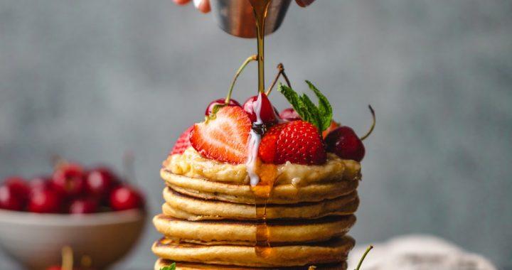 Syrup fruity pancake stack