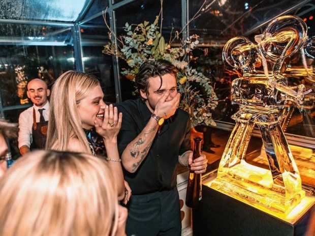 Brooklyn Beckham with Camera ice sculpture