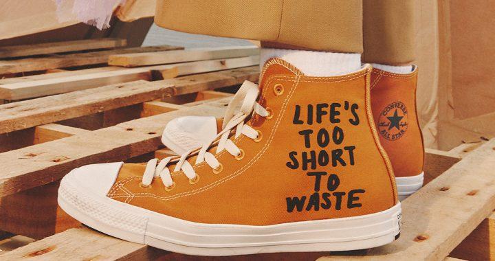converse renew orange trainer with slogan life's too short