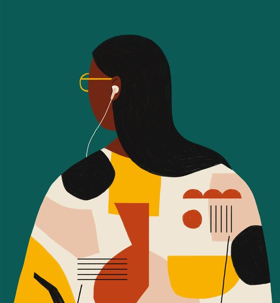 Woman with earphones in illustration