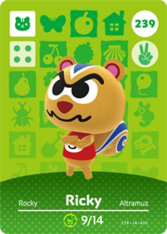 Ricky Amiibo card Animal Crossing New Horizons