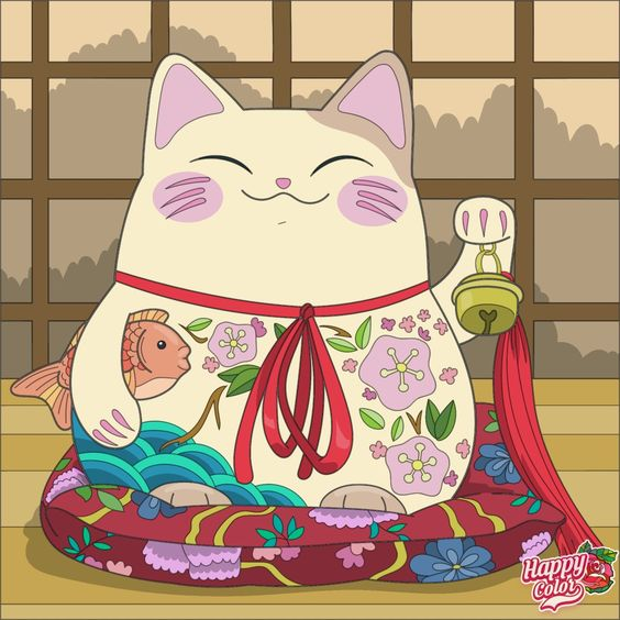 Lucky cat illustration with fish, Chinese traditions we could apply to everyday life