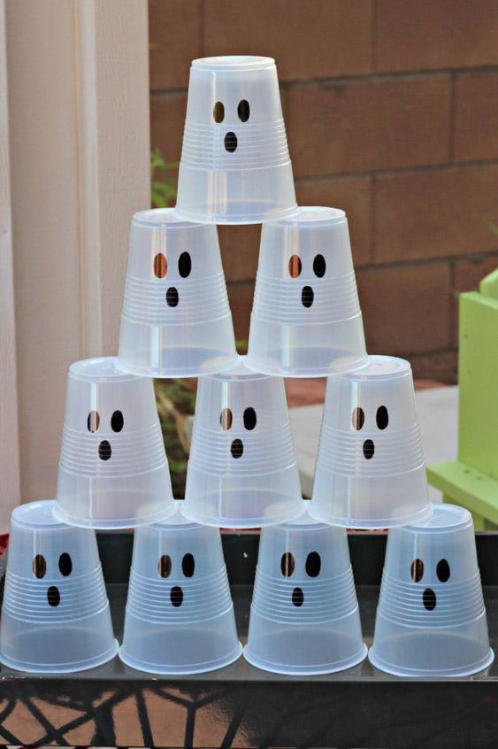 Ghost tower cups for Inspo on enjoying Halloween extra safe this year!